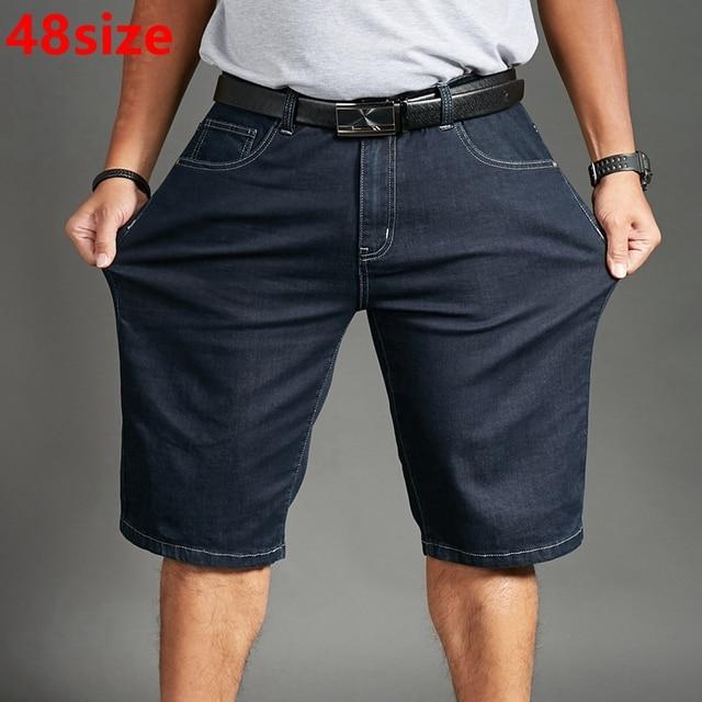Calções de verão finas grandes homem plus size XL denim Preto curto tamanho grande calças finas