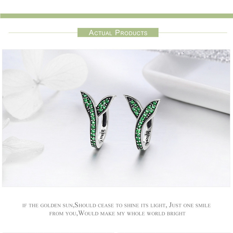 HTB18hK4ckKWBuNjy1zjq6AOypXa2 BAMOER 100% 925 Sterling Silver Spring Collection Flower Buds Green CZ Hoop Earrings for Women Sterling Silver Jewelry SCE295