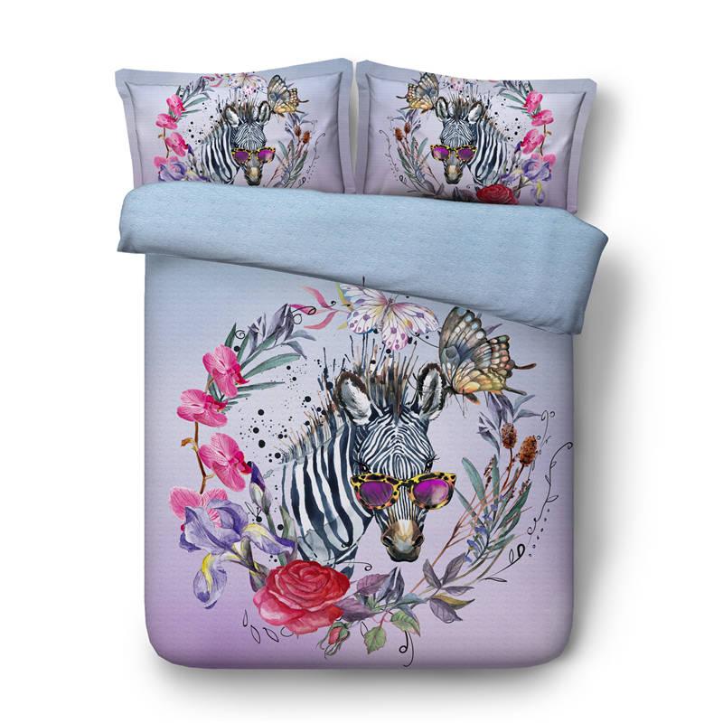Zebra Horse Comforter Bedding Set 3d Oil Painting Flower