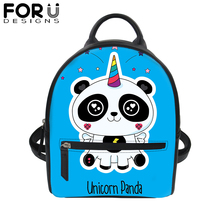 FORUDESIGS Panda Unicorn 3D Print PU Leather Backpack for Women Waterproof Tote Satchel Teenager Girls School Bag Mini Daypack