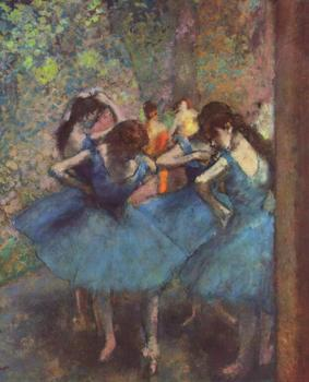 High quality Oil painting Canvas Reproductions Dancers in Blue (1895)  By Edgar Degas hand painted