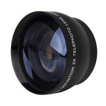 52mm 2x lente de telefoto de ampliação para nikon AF-S 18-55mm 55-200mm lente câmera