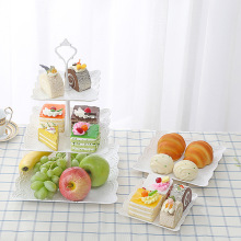 3 Pcs/set Creative European Cake Tray PP Fruit Bowl Afternoon Tea Dessert Plate Three-tier of Basket Decor for Gift
