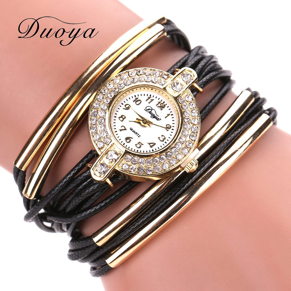 где купить New Duoya Fashion Women Gold Classic Dress Bracelet Watch Crystal Quartz Wristwatch Women Leather Casual Vintage Sport Watches по лучшей цене