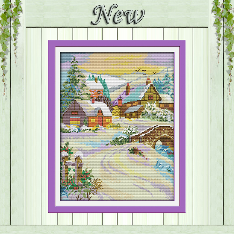 Underbart snötäckt landskap, räknat tryck på duk DMC 11CT 14CT - Konst, hantverk och sömnad