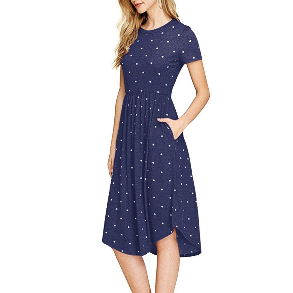 FeiTong Autumn short sleeve navy dress women Elegant polka dot dress summer 2018 Elegant autumn casual midi dress 2018