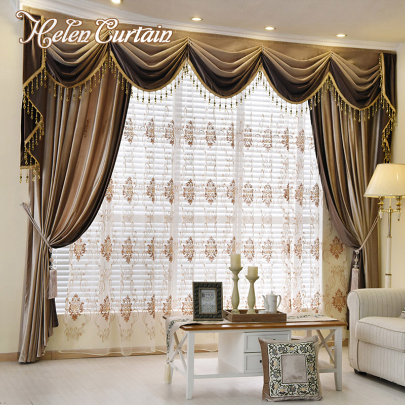 Helen Curtain Set !! Luxury European Design Splice Valance Curtains ...