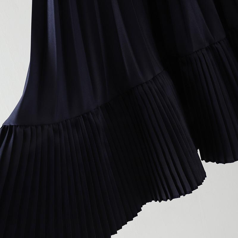0980 women irregular pleated chiffon bust skirt female spring 2019 new high waist skirts long girl 5
