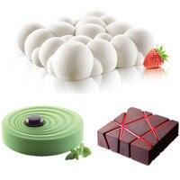 3ピースグリッドブロック雲リップル3dムースケーキ鋳型用アイスクリームチョコレートケーキ型パン耐熱皿幾何形