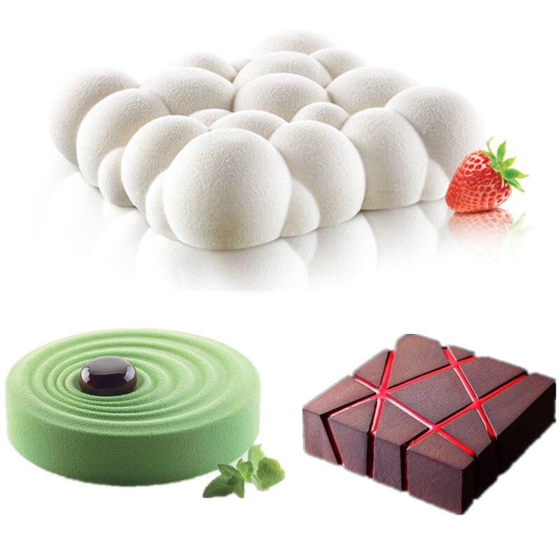3 unids piezas de bloques de rejilla nubes ondulan moldes de pastel de Mousse 3D para helados Chocolates molde de pastel Pan Bakeware formas geométricas