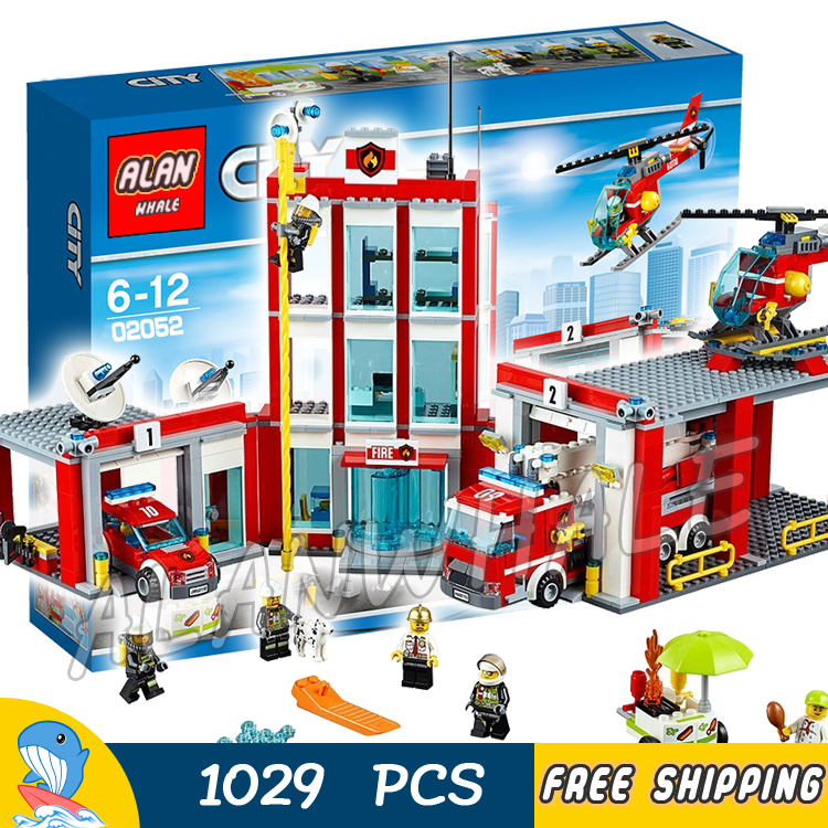 1029pcs New City Fire Station Truck Firefighter Helicopter 02052 Model Building Blocks Children Toys Bricks Compatible With lego lepin 02052 genuine 1029pcs city series the fire station set 60110 building blocks bricks educational toys christmas gift model
