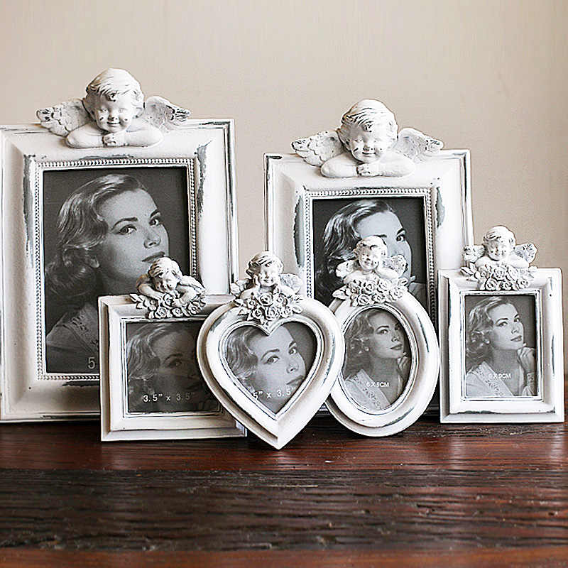 Hot Selling Newest Heart Shape Elliptical European Retro Frame for Old Angel Photo Frame Wedding Dress Photo Frame Home Decor
