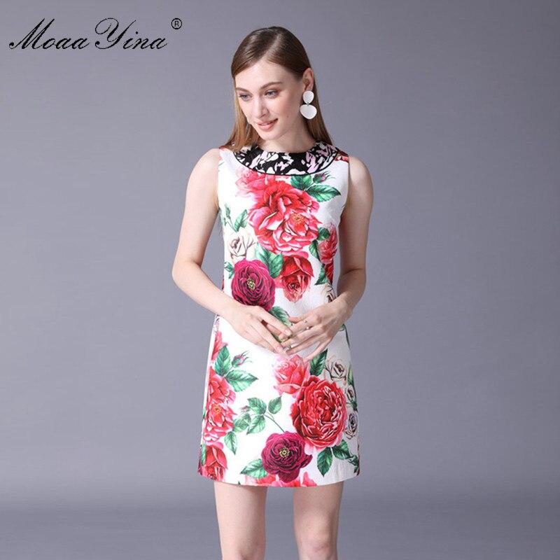 Rose Robe Femmes Multi Fashion Jacquard Imprimer Vacances Designer Beauté D'été Manches 2018 Moaayina Élégante Sans Piste Casual xrCoWBde