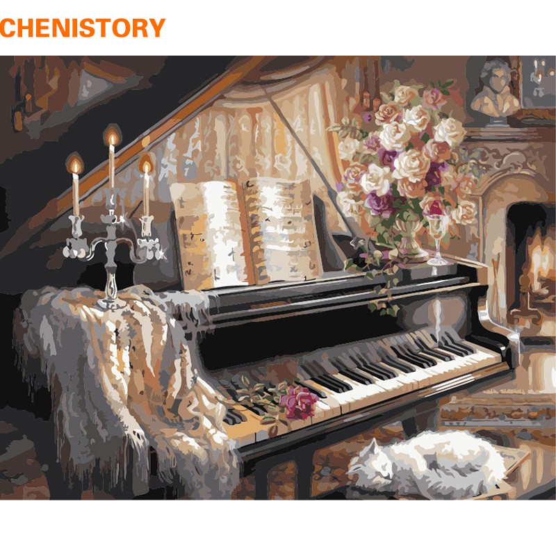 CHENISTORY Piano Peinture à l'huile de bricolage By Numbers Room Decor Peintures à la main sur toile pour le salon Wall Art Picture Home Decor