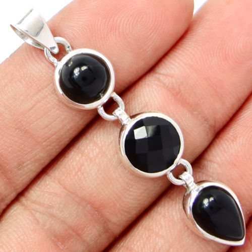 Hand make  Genuine Black Onyx Pendant,  Solid 925 Sterling Silver, 52mm,  7.1g,  AP0085