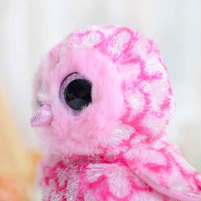 Ty עיניים גדולות קריאות בוז כפת צבעוני זרת ינשוף בפלאש צעצוע בובת מתנה יפה ילדי צעצועי Kawaii ורוד ממולא בעלי חיים חמוד צעצועי קטיפה