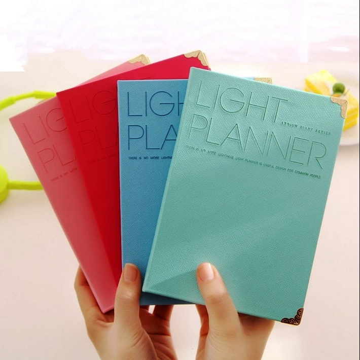 """""""light Planner"""" Cute Hard Cover Weekly Monthly Planner Notebook Study Working Agenda Diary Stationery Gift"""