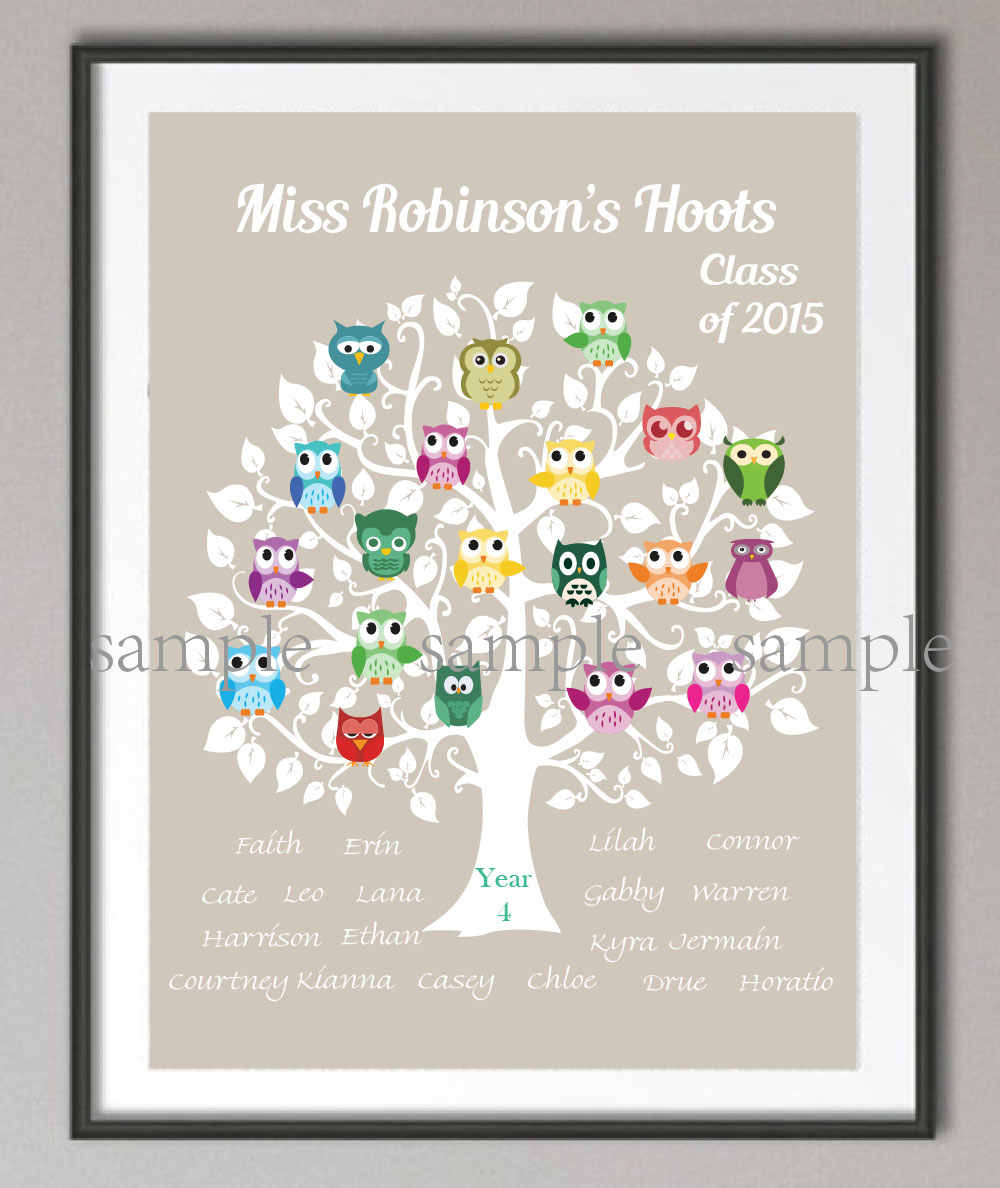 Personalized Teacher Gift Family tree Owl poster print pictures canvas  painting Home decoration Teacher Thanks wedding Gifts