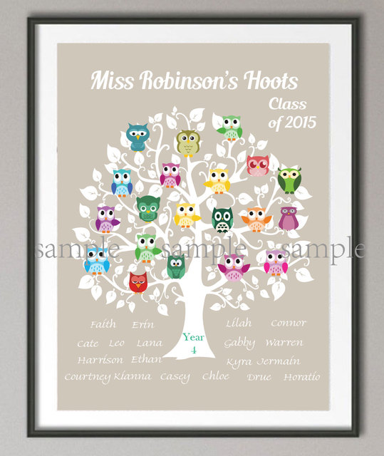 personalized teacher gift family tree owl poster print pictures
