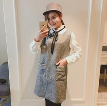 2016 Autumn and winter Maternity dresses new stitching fake two-piece wool Lace dresses for pregnant women HYF 13092685