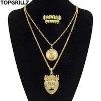 TOPGRILLZ Moda Hip-Hop Altın Sondaj Taç Aslan Kolye Kolye n Masonik Grillz Diş Ile Mısır Altın Sesi Kolye Set