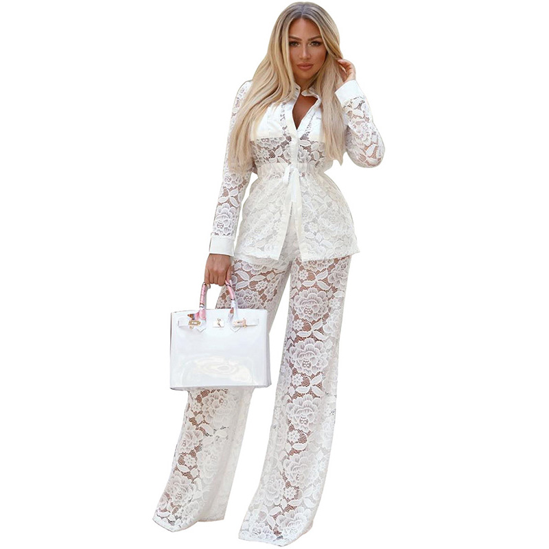 2a62582dbfb Aliexpress.com   Buy Sexy White See Through Lace Jumpsuit for Women Long  Sleeve Autumn Casual 2 Piece Sets Outfits Loose Pant Shirt Women Romper from  ...