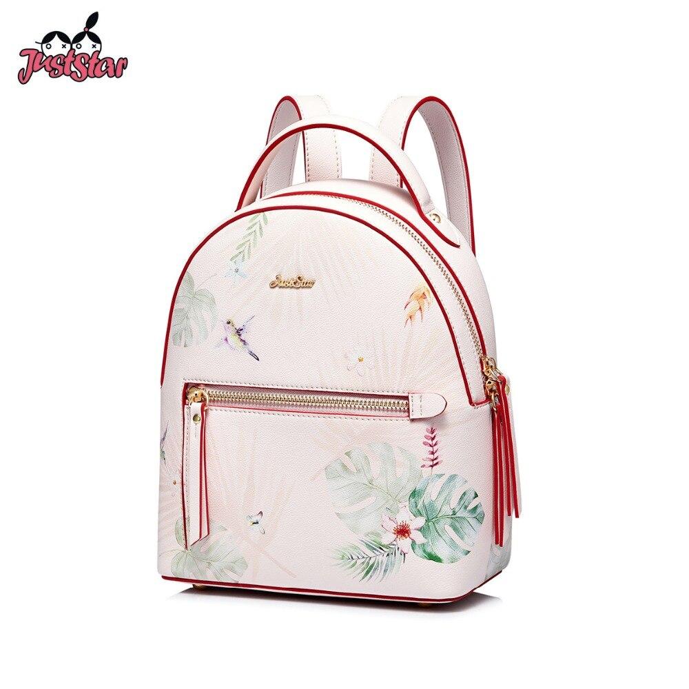 JUST STAR ブランドの女性の Pu レザーバックパック女性のファッションダブルショルダーバッグ女性の花印刷、毎日旅行バックパック  グループ上の スーツケース & バッグ からの バックパック の中 1