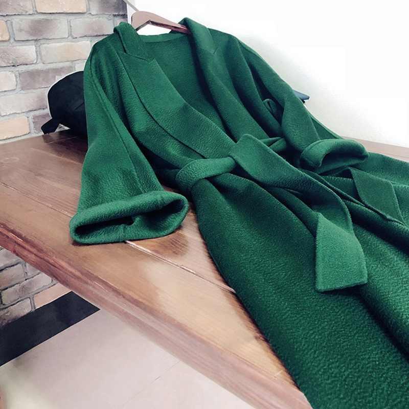 2019 frauen herbst winter mode LUXUS HIGH END kaschmir wolle Wasser welligkeit belted coat graben x lange smaragd