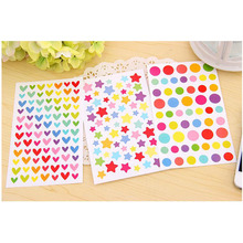 T25 6 Sheets Candy Colorful Heart Dots Star DIY Decorative Seal Stickers Diary Phone Bottle Decor Stick Label Kids Stationery