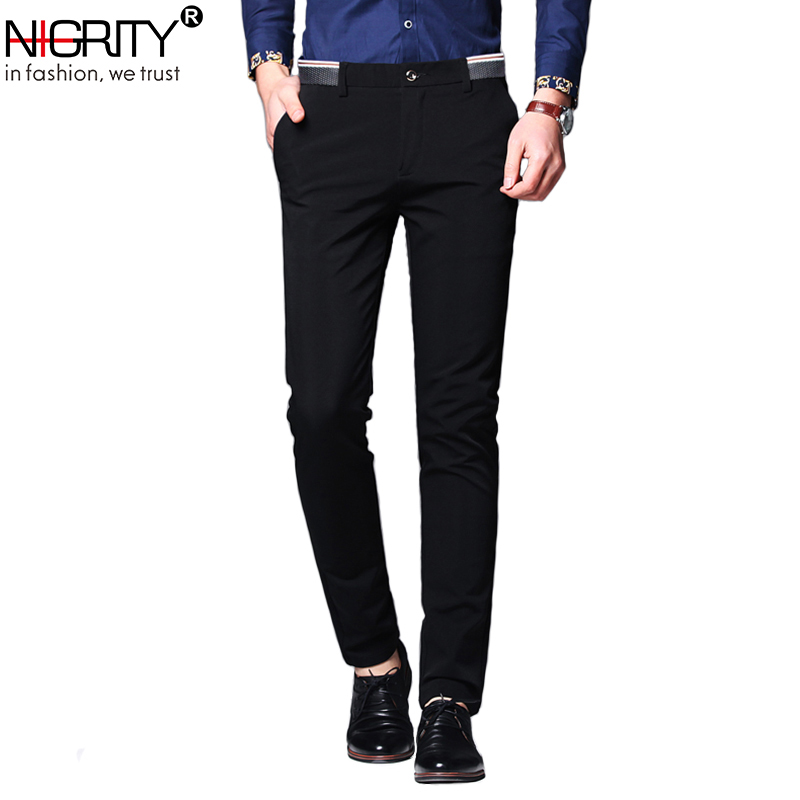 NIGRITY Mens Casual Pant Male Business Trousers Classic Dress Pant Straight Full Length Fashion Pant Blue And Black Size 28-38