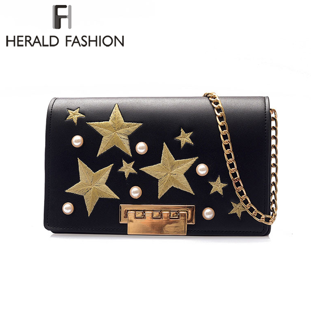 Herald Fashion Women Messenger Bag Quality Leather Female Chain Strap Shoulder Bag Ladys Crossbody Bag Travel Clutch With Pearl