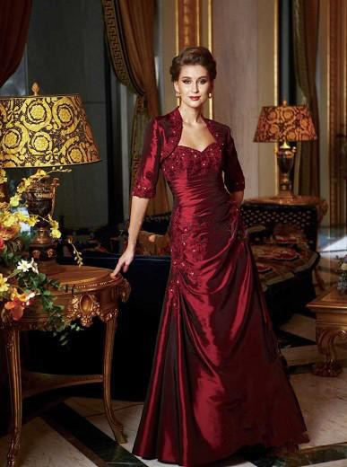 2019 New Burgundy Mother Of The Bride Dresses A-Line  With Jacket Half Sleeve Appliques Beaded Vestidos De Gala