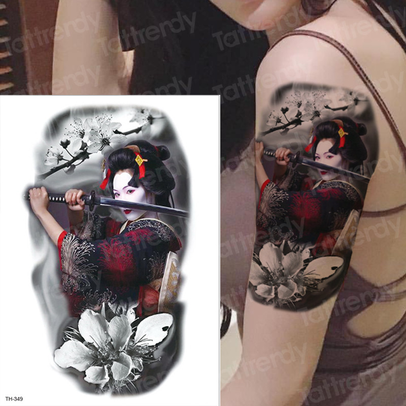Large Arm Sleeve Tattoo Waterproof Temporary Tatto Japanese Samurai Tattoos Japanese Tattoo Water Transfer Tatoo Sticker Women