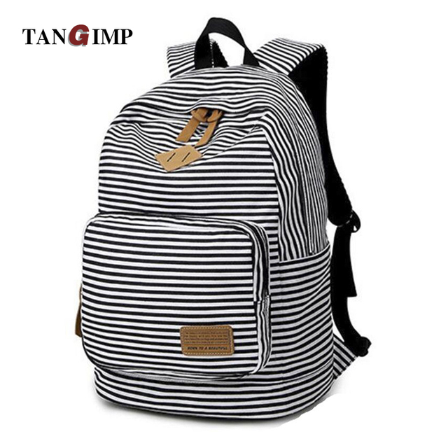 TANGIMP Women Backpack Korean Preppy Style Dyed Fabric Striped Leisure Travel Backpacks for Teenage Girls rugtassen