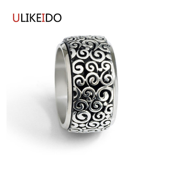100% Pure 925 Sterling Silver Jewelry Cloud Rings Can Rotate Wide Version  Men Signet Ring For Women Christmas Gift  1043