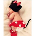Crochet Cute Mickey Baby Cap sets knitted Newborn Hat Bebes newborn photography props accessories Beanie shoe Skirt Panties Suit