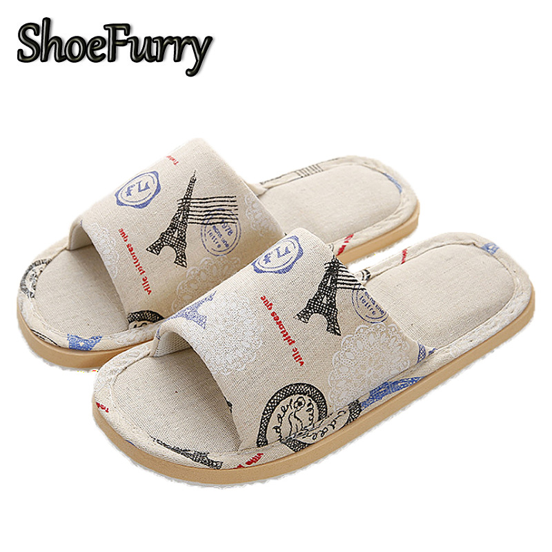 ShoeFurry Summer Home Slippers Men Casual Shoes Striped Bedroom Slippers Fashion Male Indoor Flax Sandals Sweat Linen Slippers