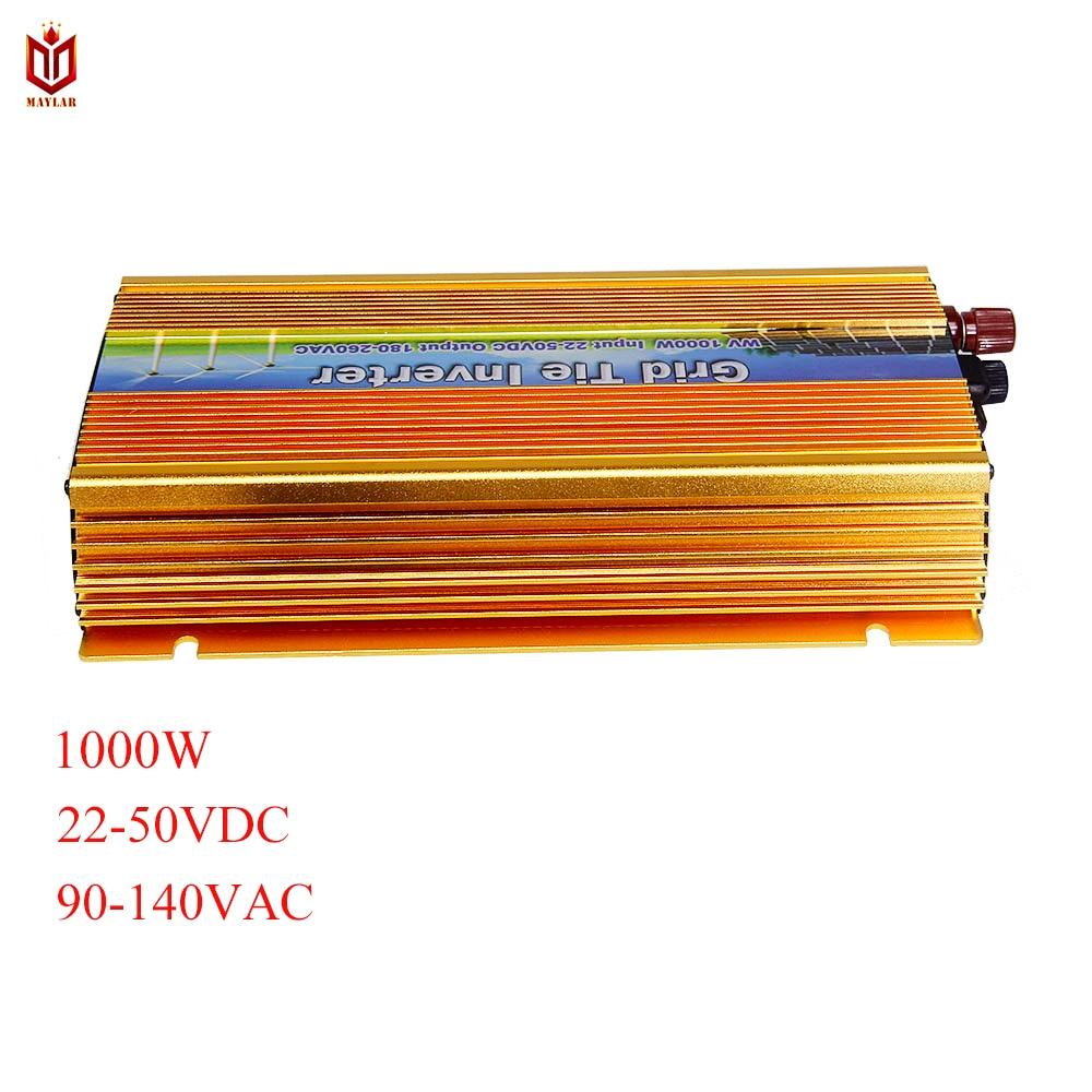 MAYLAR@ 22-50VDC 1000W Solar Grid Tie Inverter with MPPT PV on Grid Inverter, Output 90-140V.50hz/60hz, For Alternative Energy grid on tie inverter 1000w 12v 24v solar panel system dc output 90 130v 190 260v with mppt function