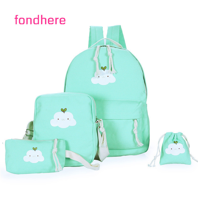fondhere 4 Pcs/set Women Backpack Set Canvas Cloud Printing School Bags Preppy Style Backpacks For Teenagers Girls Bag Set