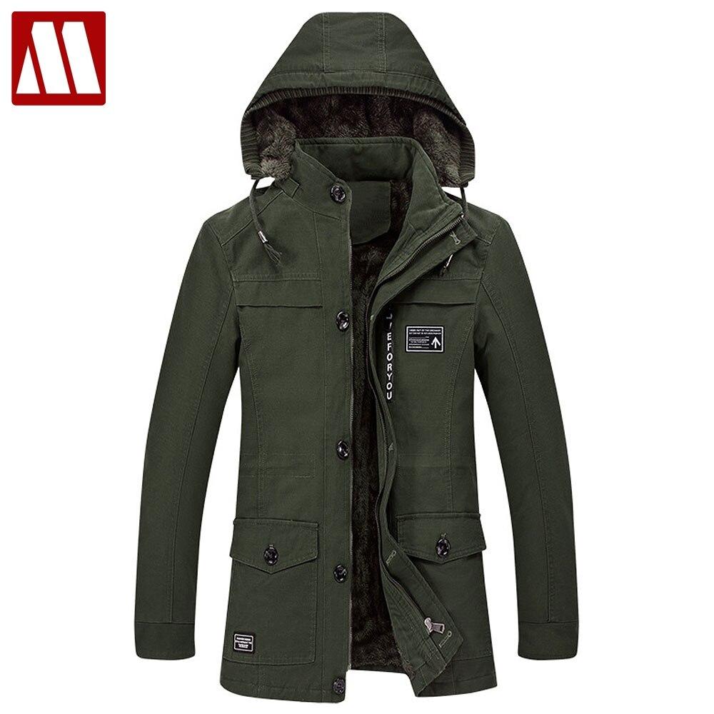 Плюс Размер 6XL с капюшоном зимнее пальто мужчины длинный толстый флис Тренч пальто осень мужская верхняя одежда хлопковая куртка повседнев...