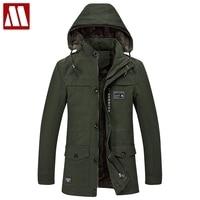Plus Size 6XL hooded winter coat men long thick fleece trench coats autumn man's outwear cotton jacket casual hooded parka coats