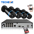 Techege 8CH full 1080P POE NVR kit 48V POE NVR W 4PCS 2.0MP 3000tvl NIght Vision IP POE Camera P2P Cloud cctv camera system