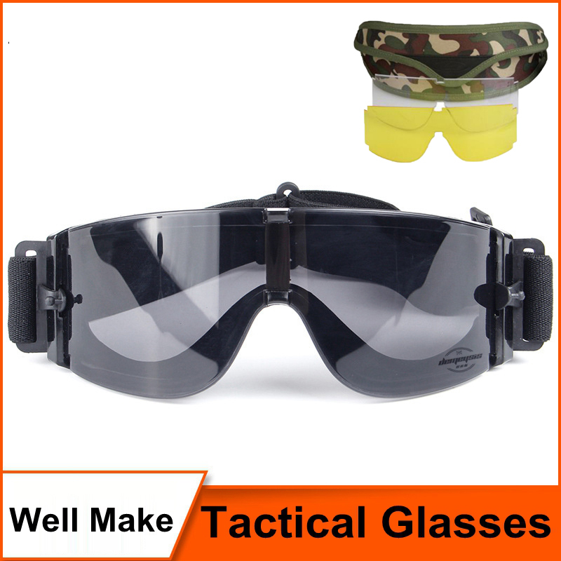 Hot Sale Airsoft Tactical Solglasögon Glasögon Goggles Tactical Goggles Black 3 Lens Tactical Goggles