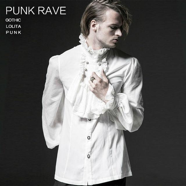 PUNK RAVE Men's Gothic Steampunk Black White Shirts Fashion Chiffon Emnossing Dress Shirt Formal Wedding Long Sleeve Blouses