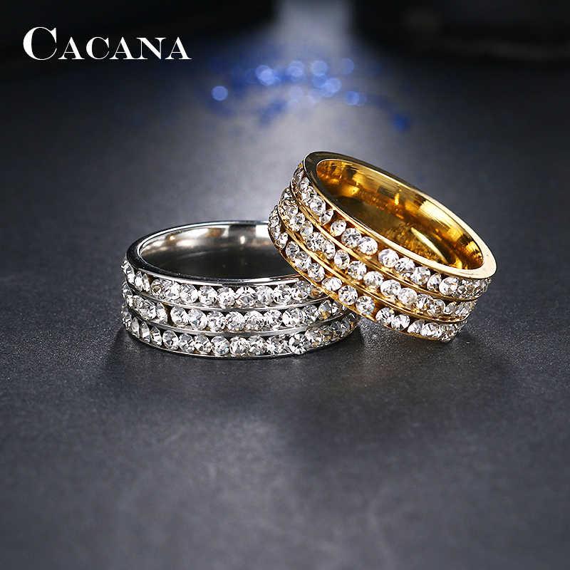 CACANA кольца из нержавеющей стали для женщин Персонализированные пользовательские модные ювелирные изделия оптом NO. R120