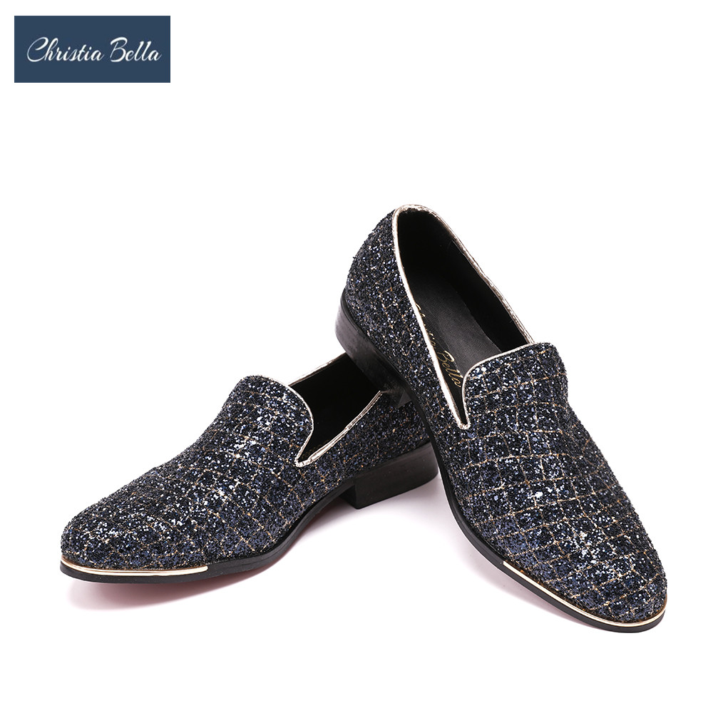 Christia Bella Men Dress Shoes Luxury Party Wedding Handmade Loafers Bling Bling Sequined Slip on Smoking Slippers Men Flats
