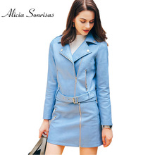 WFST Brand 2017 Spring Faux Leather Jacket Women PU Blue Motorcycle Overhip Biker Coats With Belts Free Skirt Gift MF5210