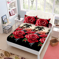 3D Rose Sheets Set Flowers Print Polyester Bed Linen Elastic Fitted Sheet Bed Sheet Pillowcase Mattress Cover Bedspreads D49