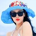 2016 Новая Мода Складной УФ-Защитой Hat Широкий Большой Брим Летние Шляпы для Женщин Beach Sun Hat Cap B-2263