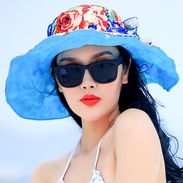 2016 Nueva Moda Grande Ancho de Ala Plegable Sombrero de Protección UV Sombreros de Verano para Mujeres Playa Sombrero de Sol Cap B-2263